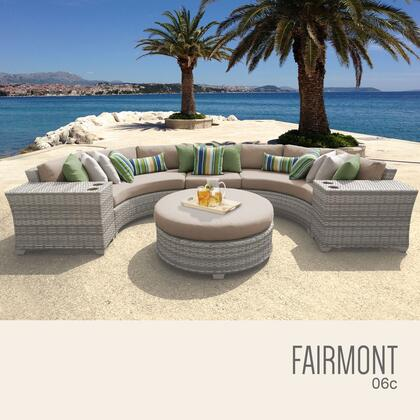 FAIRMONT-06c-WHEAT Fairmont 6 Piece Outdoor Wicker Patio Furniture Set 06c with 2 Covers: Beige and