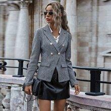Mantel mit Hahnentritt Muster und zweireihigen Knopfen