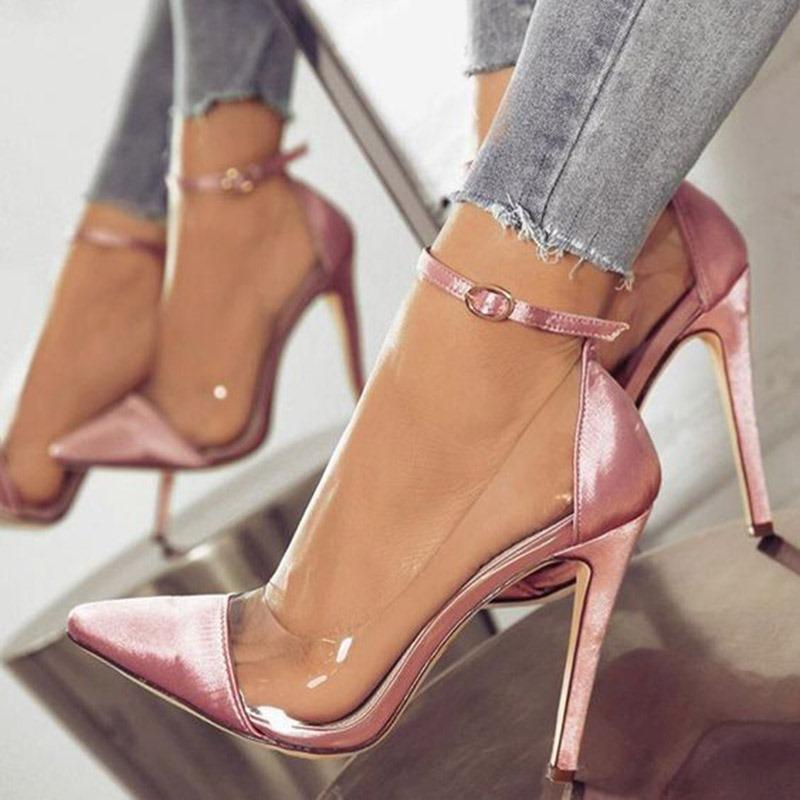 Ericdress PVC Patchwork Stiletto Heel Buckle Pointed Toe Women's Pumps