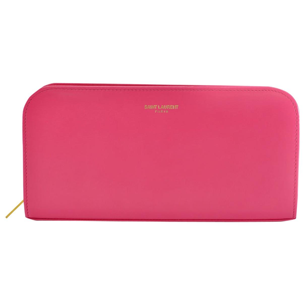 Saint Laurent - Portefeuille   pour femme en cuir - rose