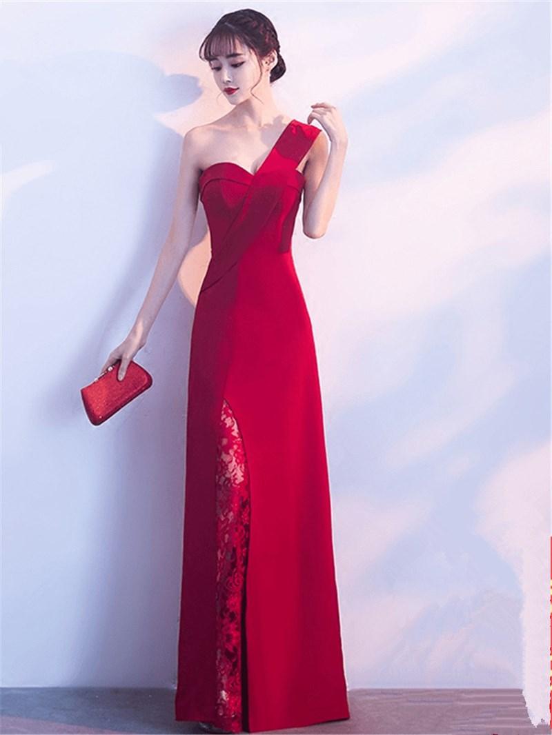 Ericdress Sheath One Shoulder Lace Slit Long Evening Dress
