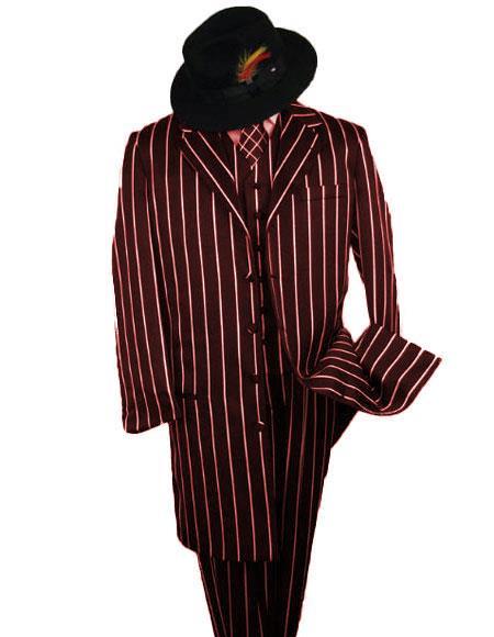 SHIMMERY GANGSTER Dark Burgundy White Stripe ~ Pinstripe Mens Suits