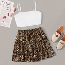 Solid Crop Cami Top & Leopard Tiered Skirt Set