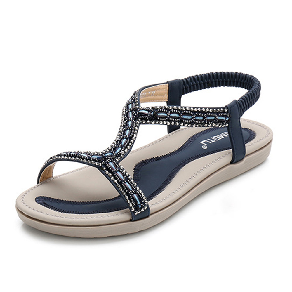 Women Summer Beach Rhinestone Peep Toe Elastic Band Sandals