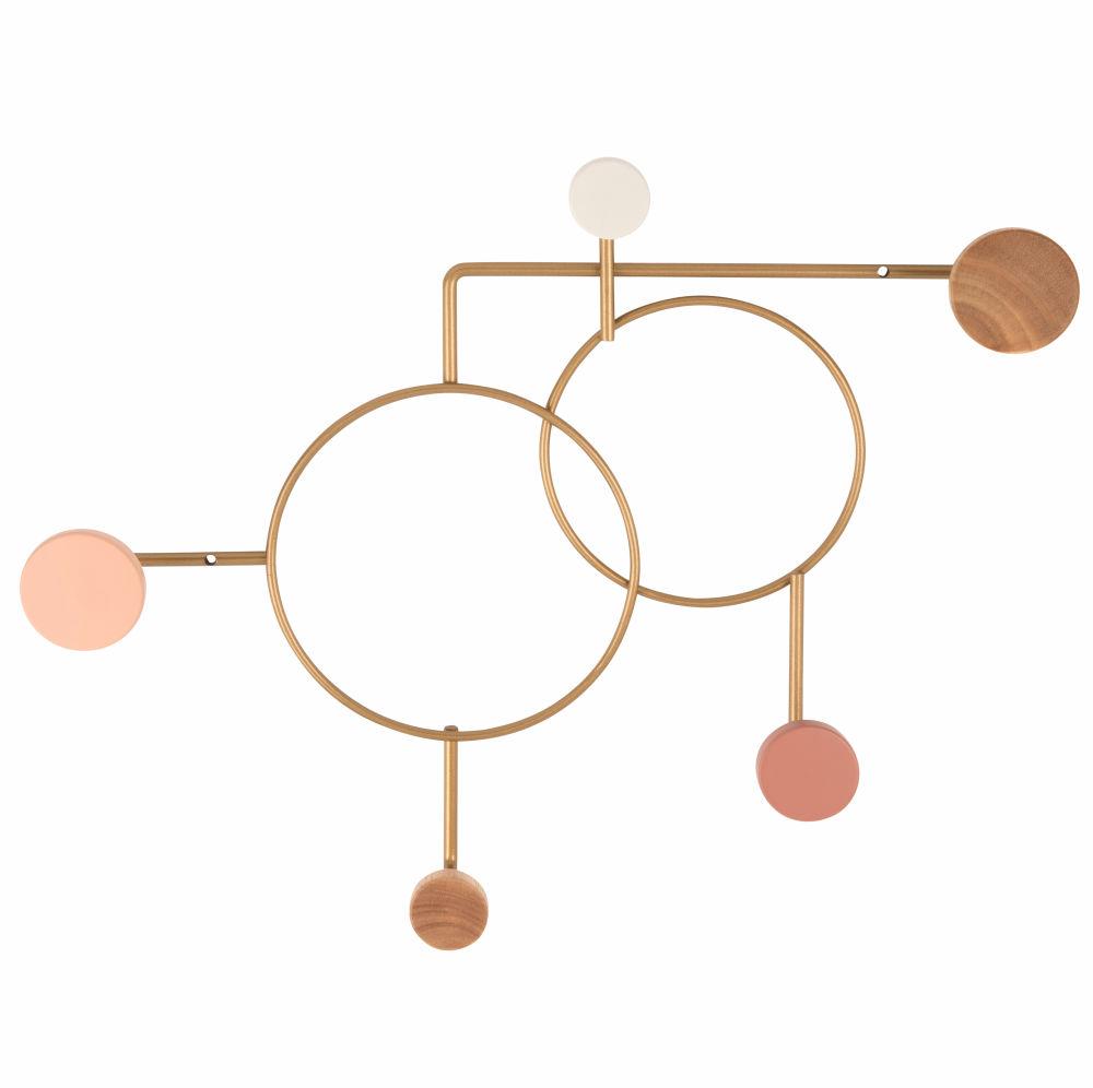 Garderobenleiste aus goldfarbenem Metall mit 5 Haken, mehrfarbigem Buchen- und Heveaholz
