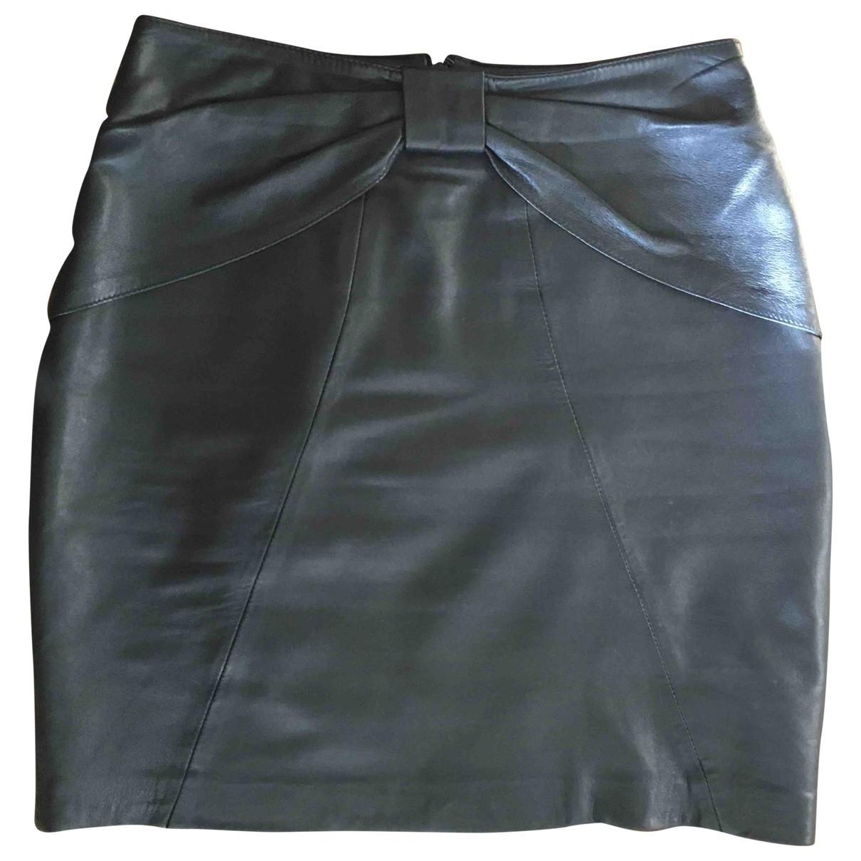 Uterque - Jupe   pour femme en cuir - noir