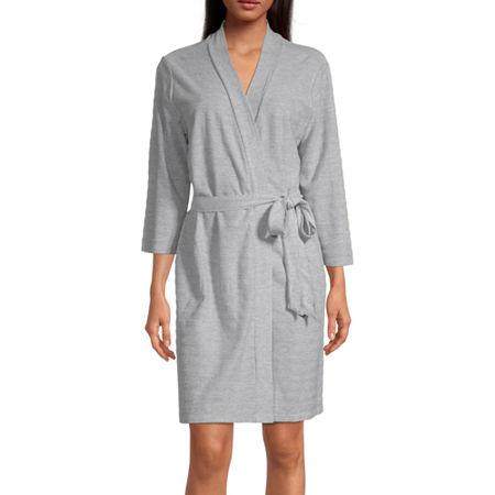 Liz Claiborne Textured Womens Robe Long Sleeve Knee Length, Small , Gray