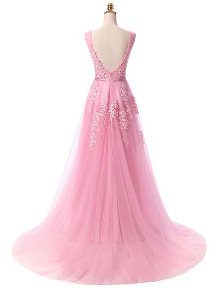 Milanoo Prom Dress V Neck A Line Sleeveless Floor Length Lace Applique Party Dresses