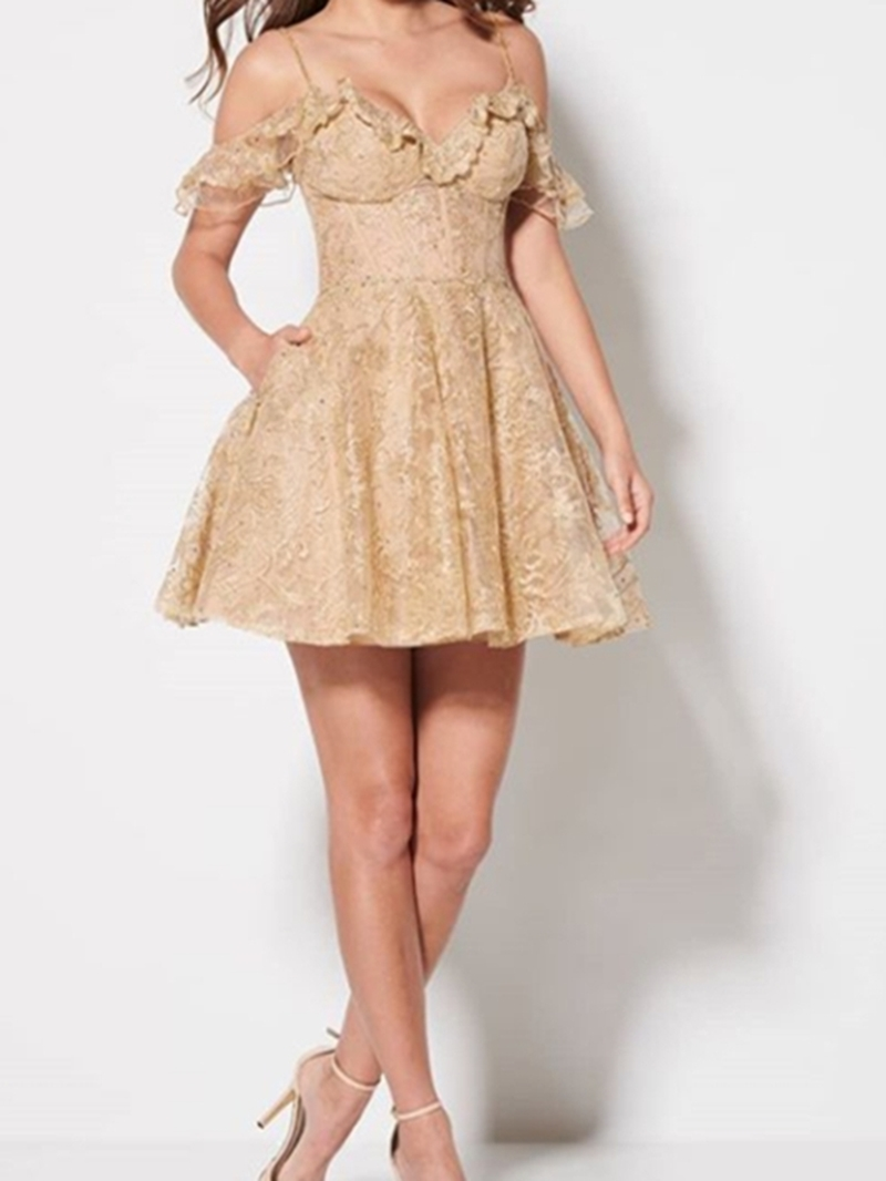 Ericdress Short Sleeves Short Spaghetti Straps Lace Homecoming Dress