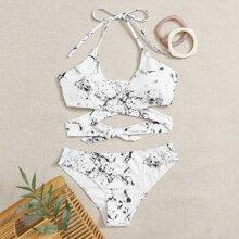 Marble Wrap Halter Bikini Swimsuit