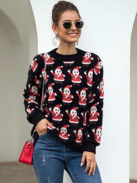 Yoins Christmas Print Round Neck Long Sleeves Sweater