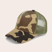 Men Camouflage Mesh Panel Baseball Cap