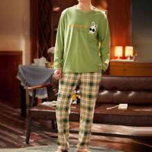 Men Slogan And Tartan Print PJ Set