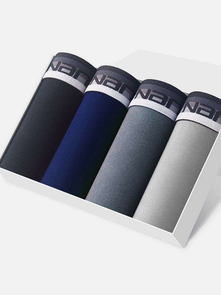 4Pcs Mens Pure Color Underpants Comfortable Breathable Boxer Briefs With Pouch