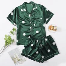 Satin Pajama Set mit Punkten Muster und Kontrast Bindung