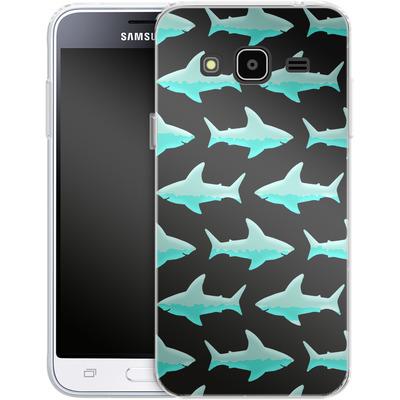 Samsung Galaxy J3 (2016) Silikon Handyhuelle - Neon Sharks von caseable Designs