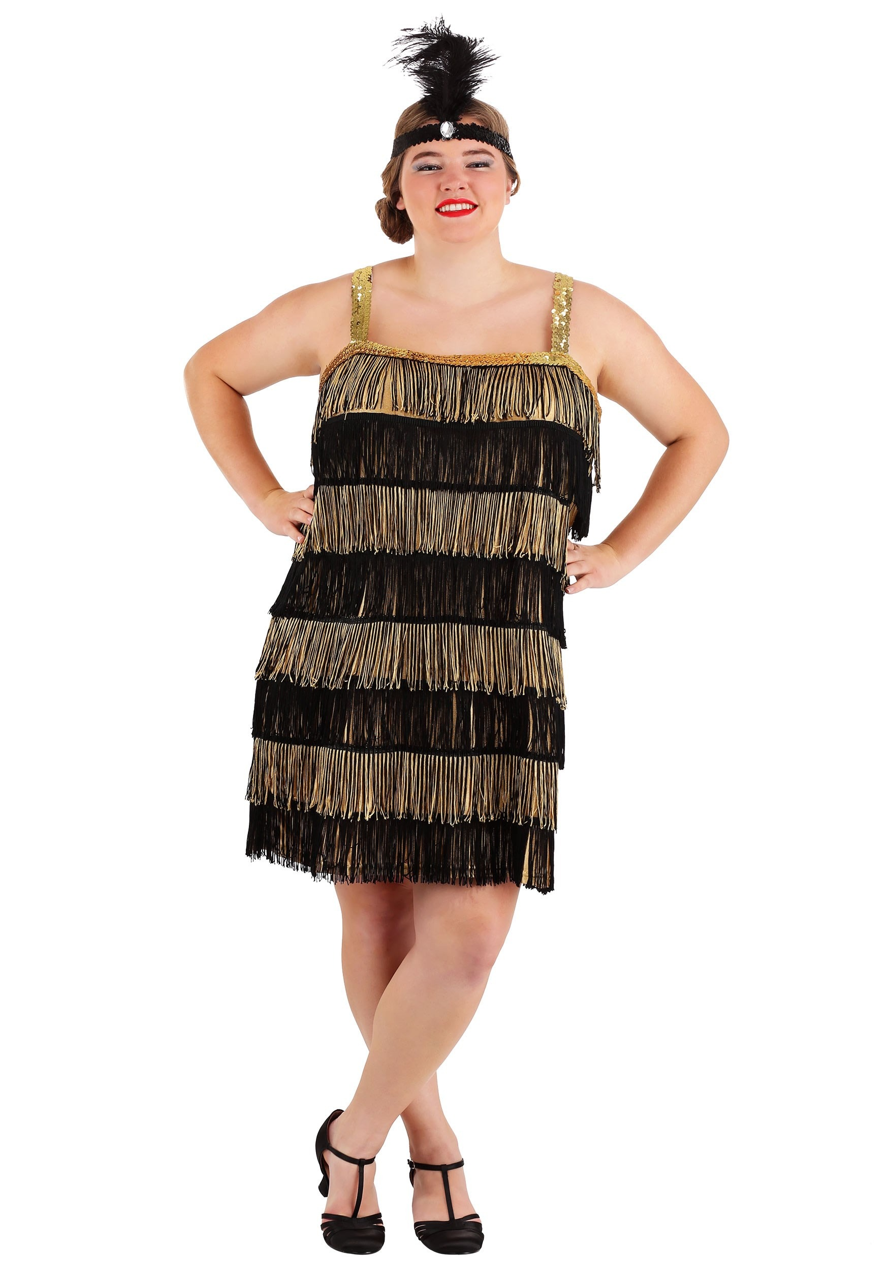 Gold and Black Fringe Flapper Plus Size Costume for Women