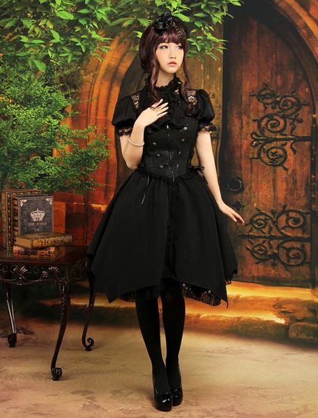 Milanoo Gothic Black Satin Jacquard Cute Lolita Outfits