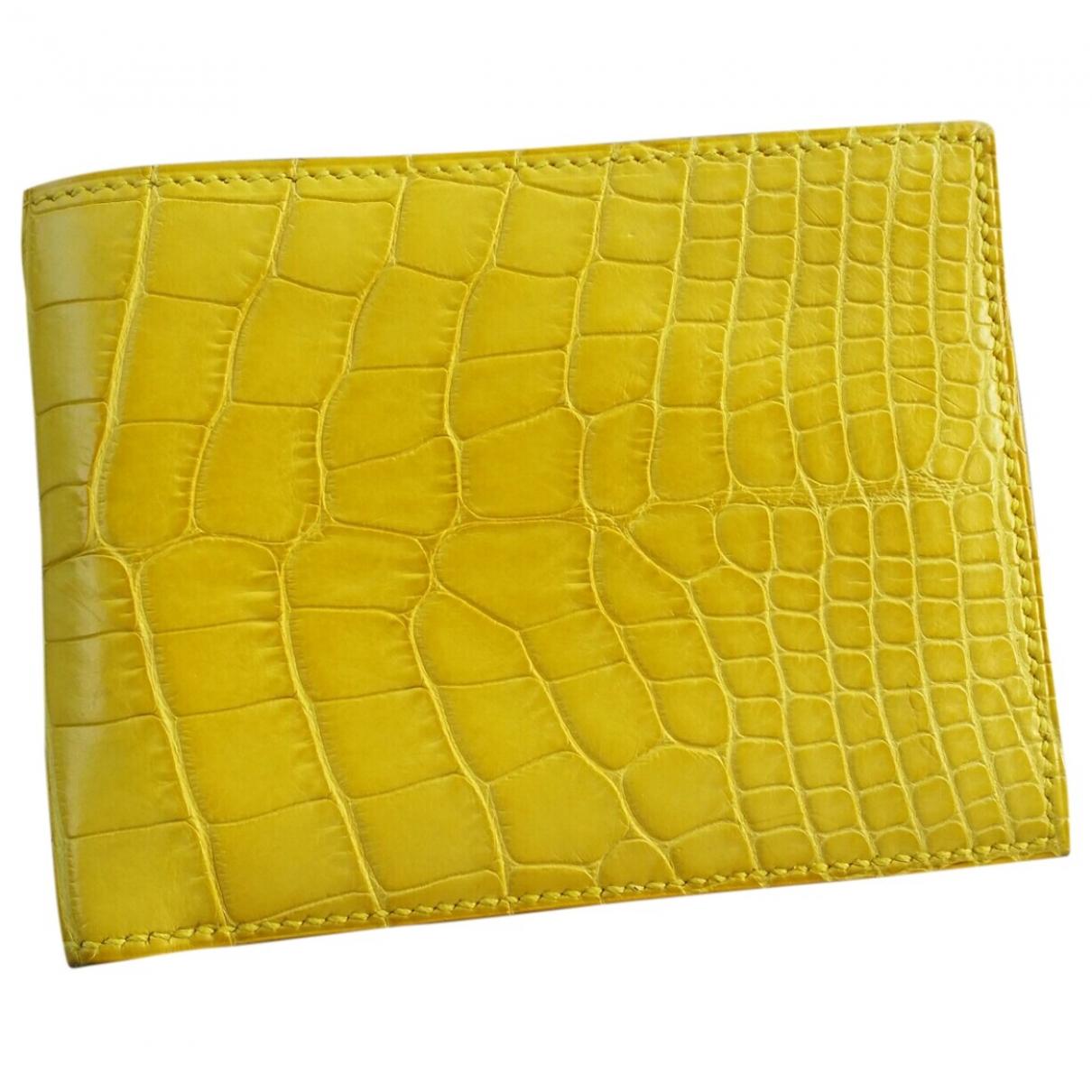 Hermes - Petite maroquinerie MC2 pour homme en alligator - jaune