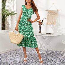Ruffle Trim Zip Back Flounce Hem Floral Dress