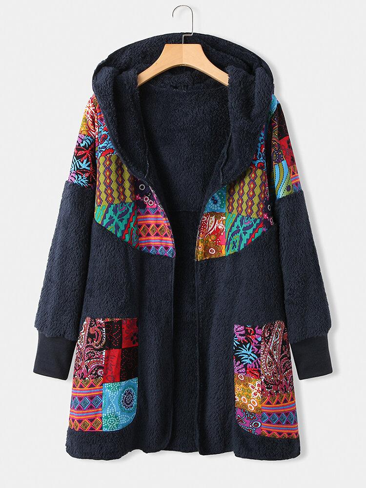 Ethnic Print Patchwork Long Sleeve Hooded Plus Size Coat