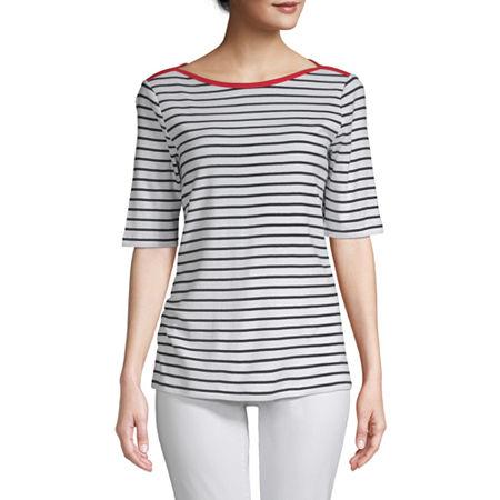 St. John's Bay-Womens Boat Neck Elbow Sleeve T-Shirt, Medium , White