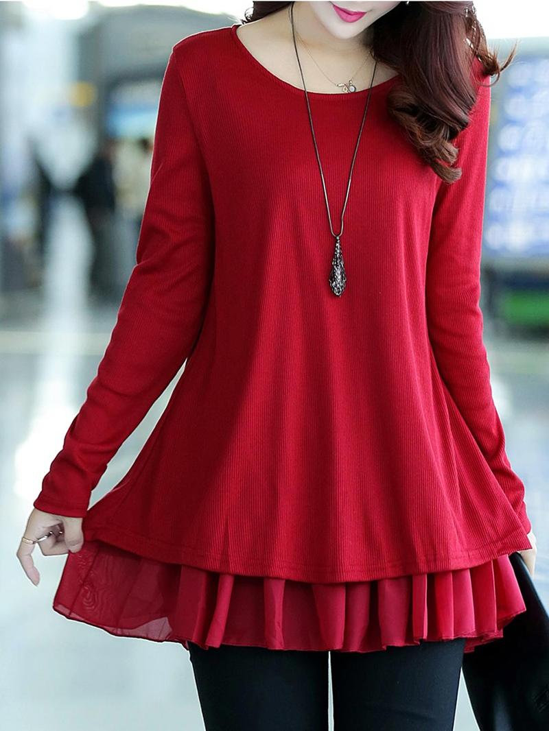 Ericdress Plain Mid-Length Double-Layer Knitwear