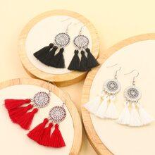 3pairs Round Tassel Drop Earrings
