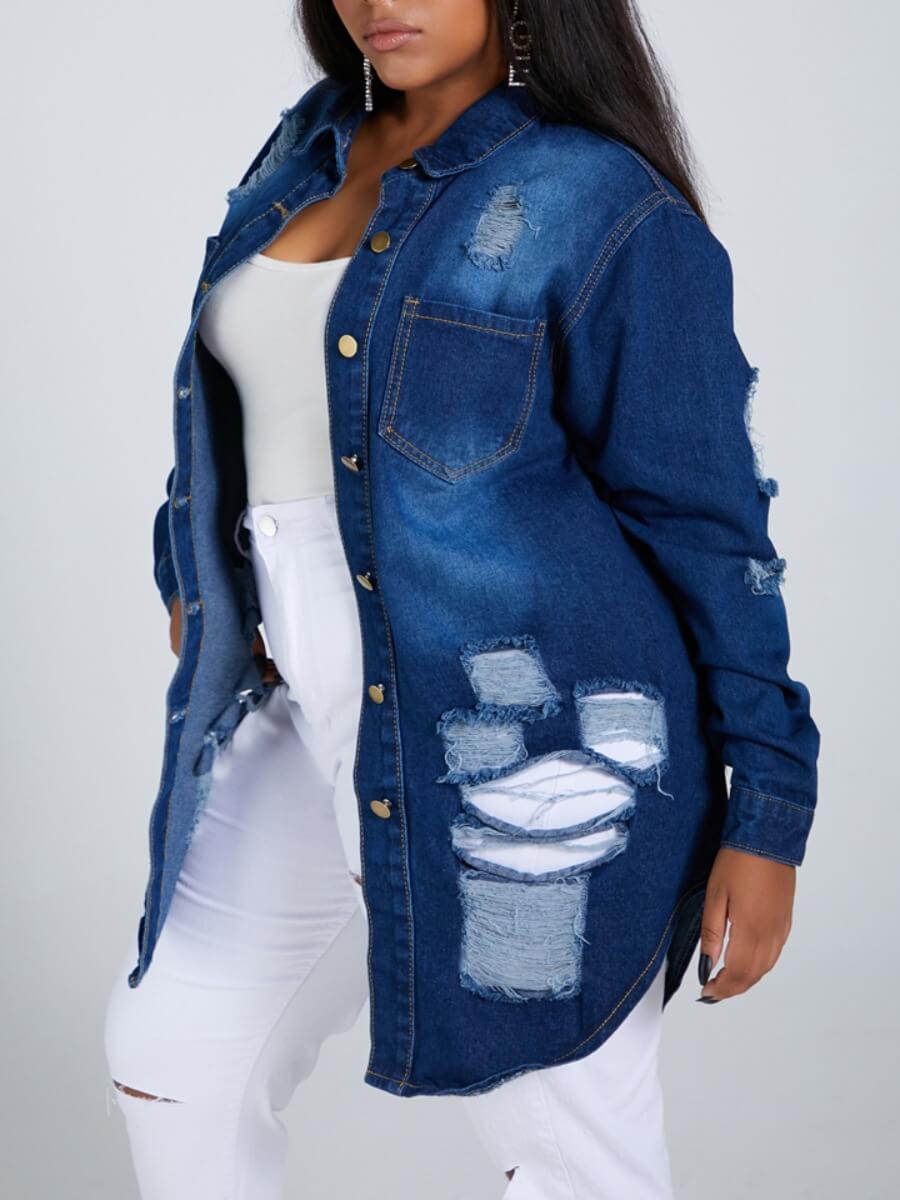 LW Lovely Street Turndown Collar Broken Holes Deep Blue Plus Size Denim Jacket