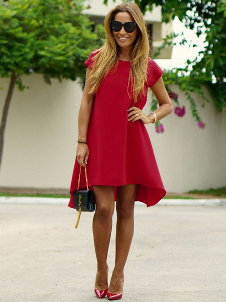 Milanoo Red Shift Dress Chiffon Round Neck Low Back Short Sleeves High Low A Line Casual Dress