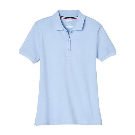 French Toast Little & Big Girls Short Sleeve Polo Shirt, Medium , Blue
