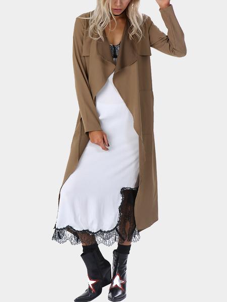 Yoins Side Pockets Overlay Detail Versatile Waist Tie Long Trench Coat