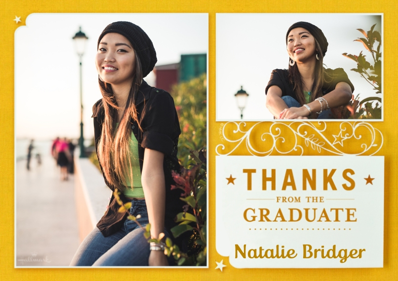 Graduation Thank You Cards Flat Glossy Photo Paper Cards with Envelopes, 5x7, Card & Stationery -Lasered Paper Thanks
