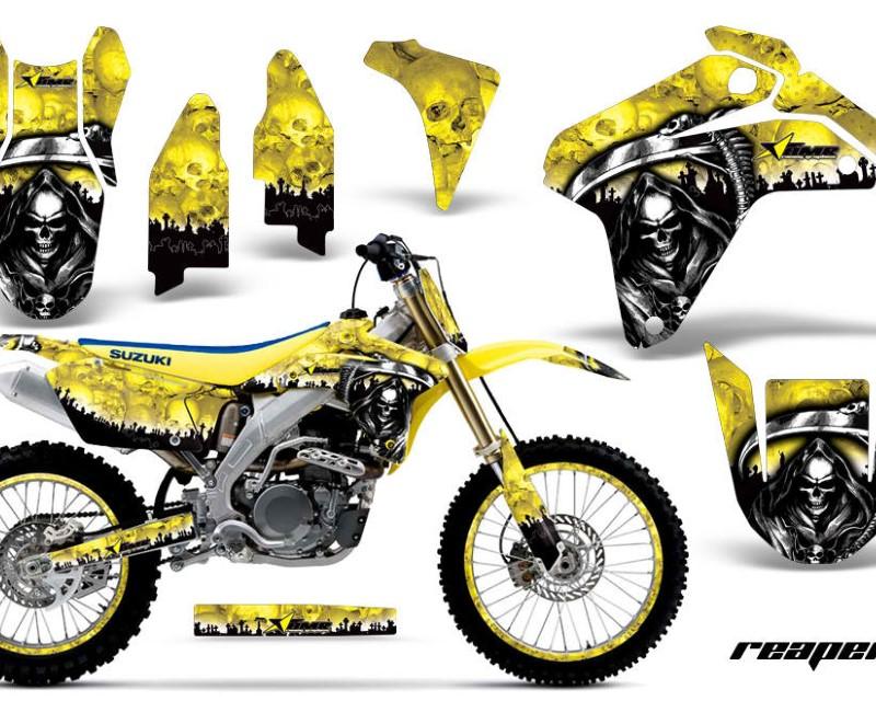 AMR Racing Graphics MX-NP-SUZ-RMZ450-05-06-RP Y Kit Decal Sticker Wrap + # Plates For Suzuki RMZ450 2005-2006áREAPER YELLOW