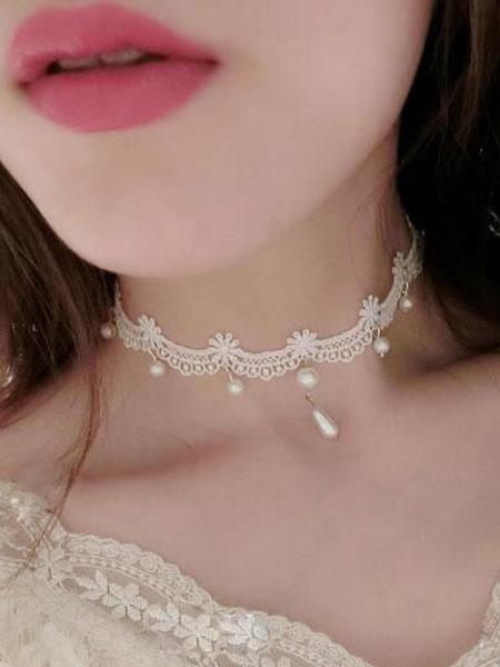 Milanoo Classic Lolita Choker White Lace Pearls Lolita Necklace