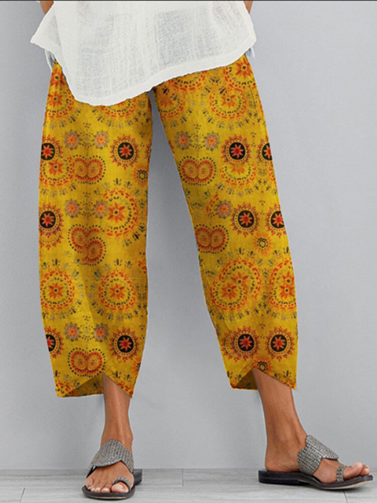 Casual Print Elastic Waist Plus Size Pants for Women