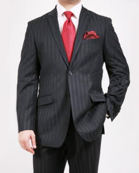 2 Button Black Tone on Tone Suit Mens Cheap