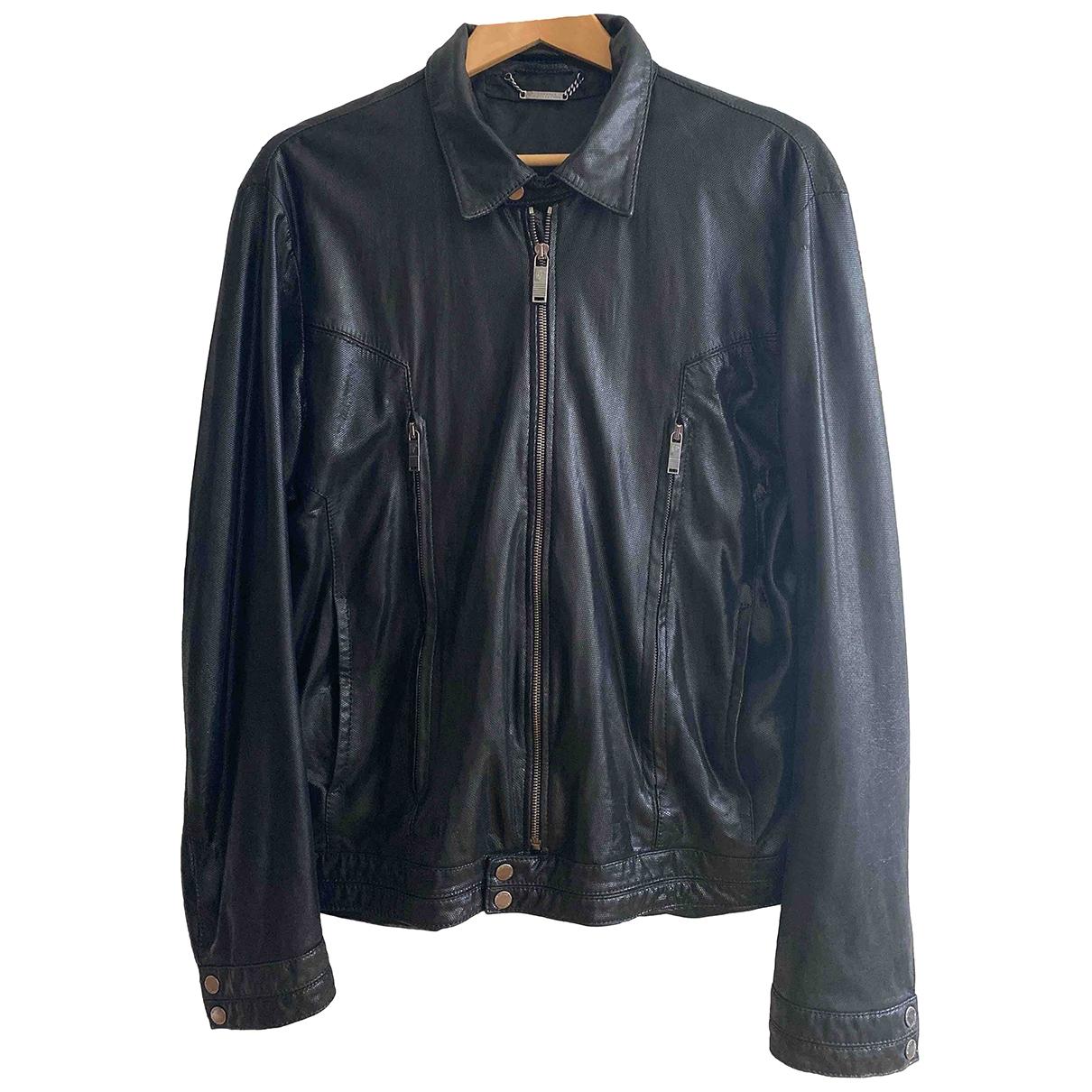 Versace \N Black Leather jacket  for Men 56 IT
