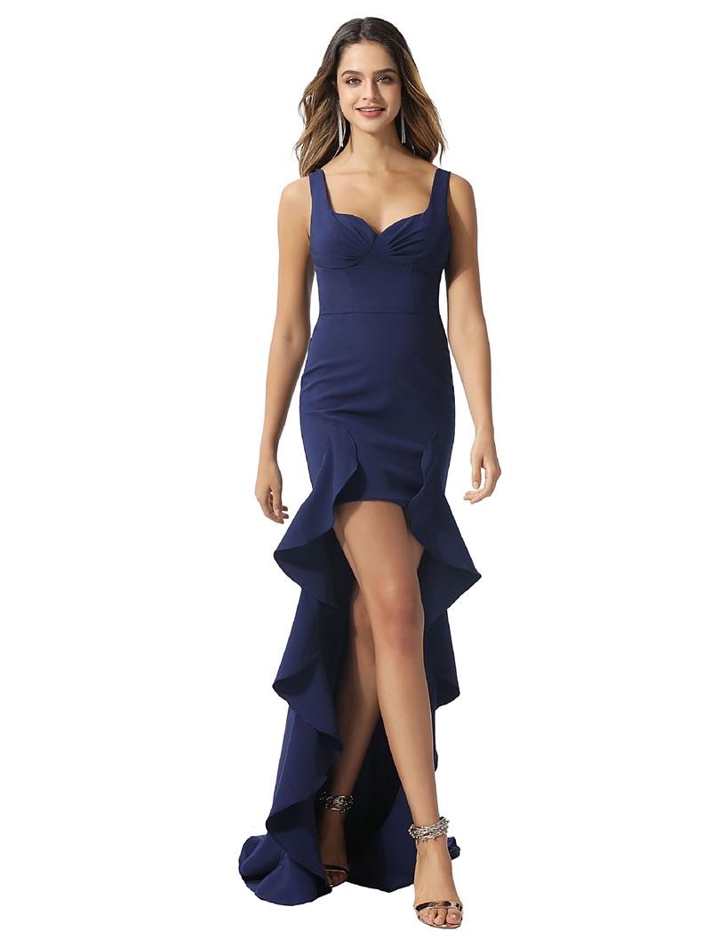 Ericdress Sleeveless Straps Sheath/Column Ruffles Prom Dress 2020