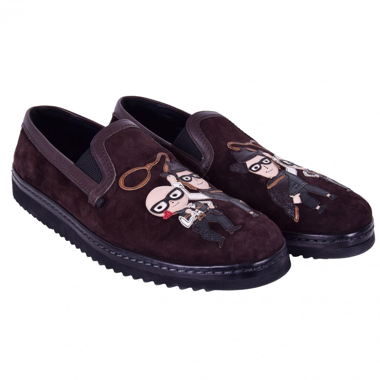 Dolce & Gabbana - Mocassins   pour homme en suede - marron