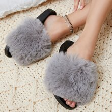 Plush Faux Fur Vamp Slip-On Sandals