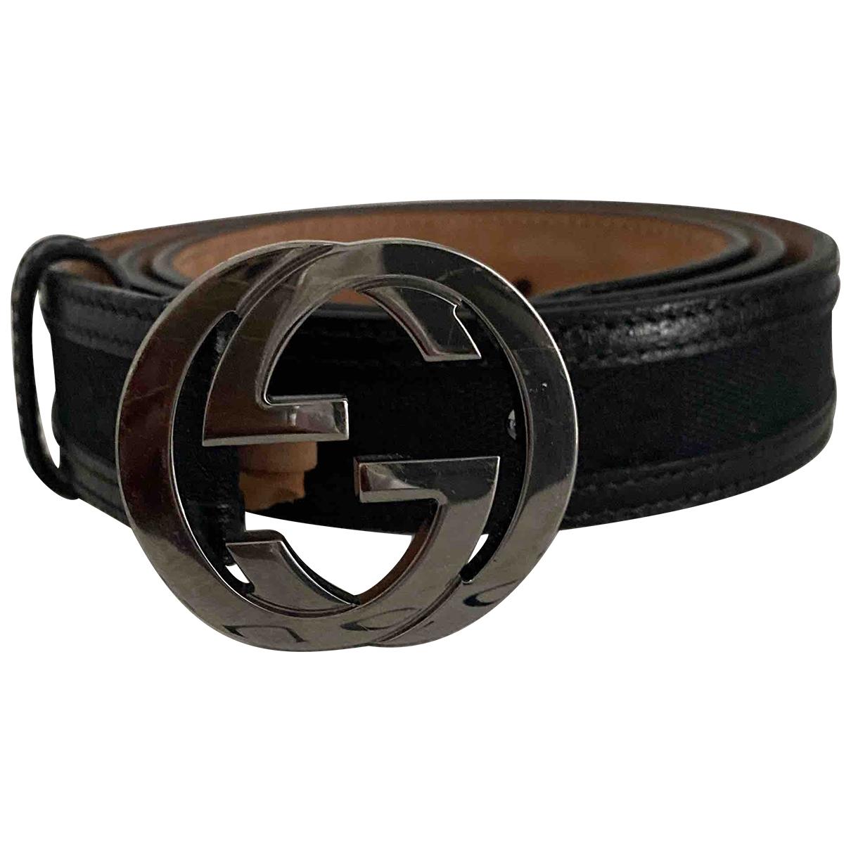 Gucci - Ceinture Interlocking Buckle pour femme en toile - noir
