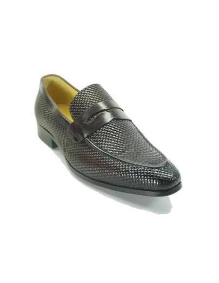 Mens Woven Leather Loafers by Carrucci - Brown