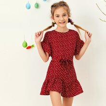 Girls Ruffle Trim Heart Print Belted Smock Dress