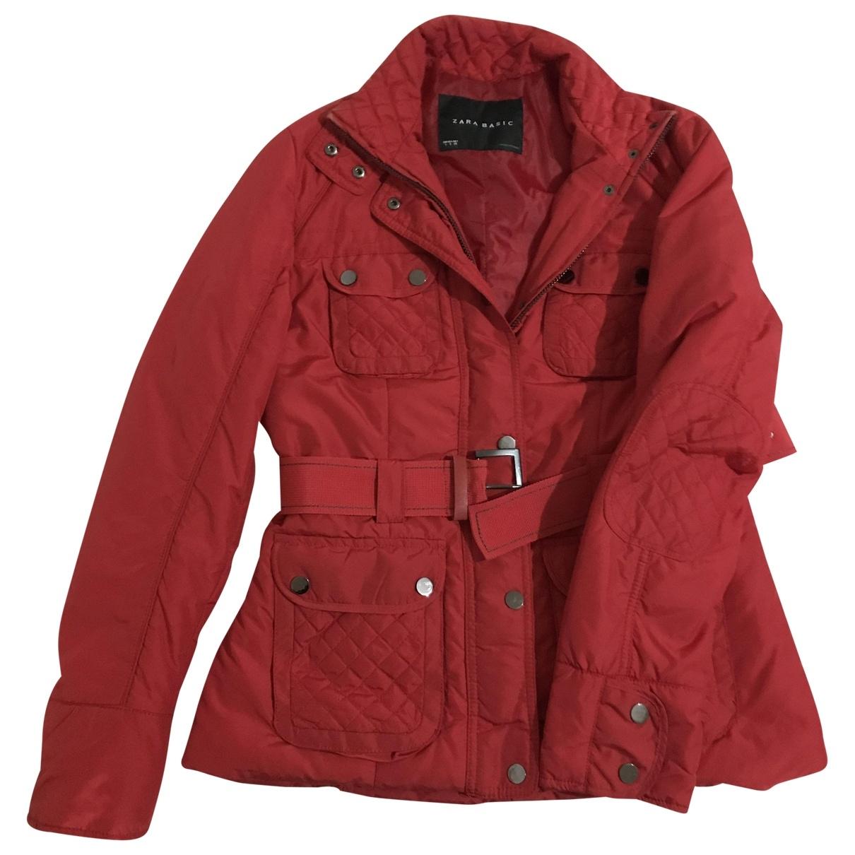 Zara \N Lederjacke in  Rot Polyester