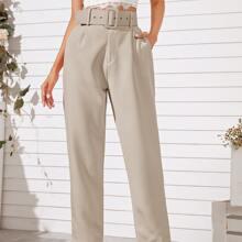 Pantalones con cinturon de pierna recta con bolsillo oblicuo unicolor