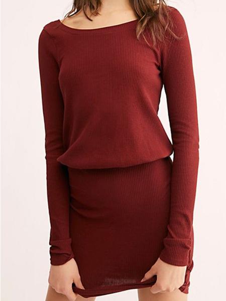 Yoins Burgundy Cut Out Round Neck Long Sleeves Mini Dress