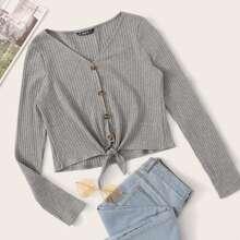 Button Front Knot Hem Rib-knit Top