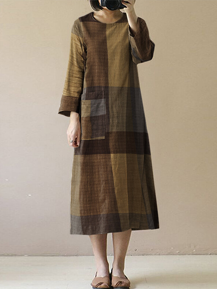 Plaid Print O-neck Side Slit Pockets Long Sleeve Casual Dress