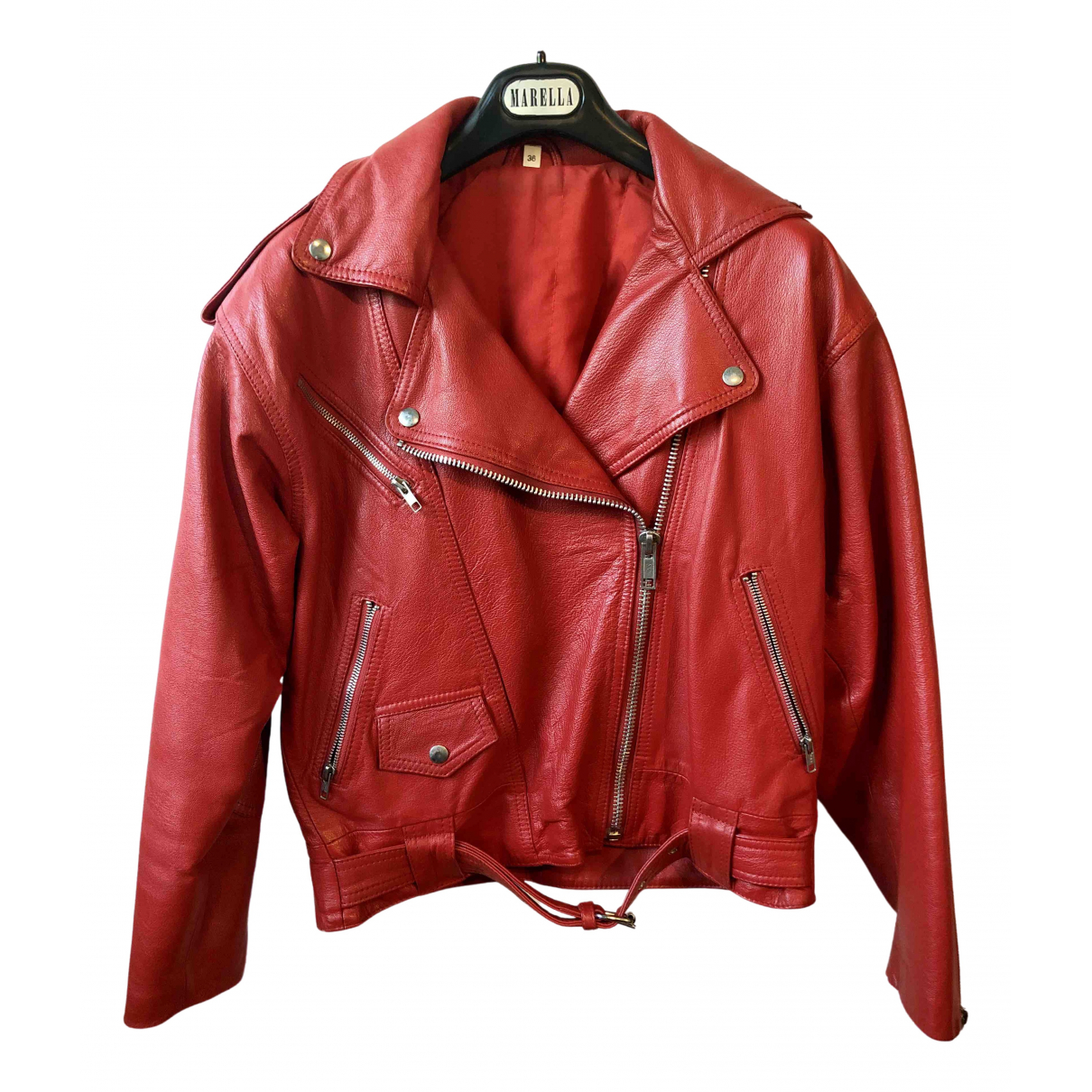 Non Signé / Unsigned \N Red Leather jacket  for Men M International